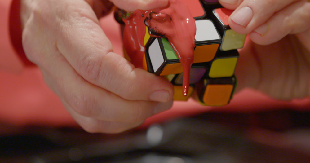 Rubik's cube piece (squished)