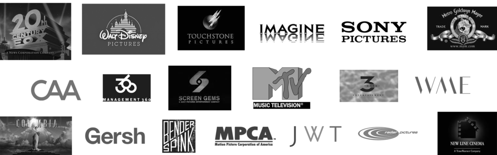 Some of the Hollywood movie studios, management-production companies, literary agencies with whom I've worked on screenplays that I developed with aspiring screenwriters.