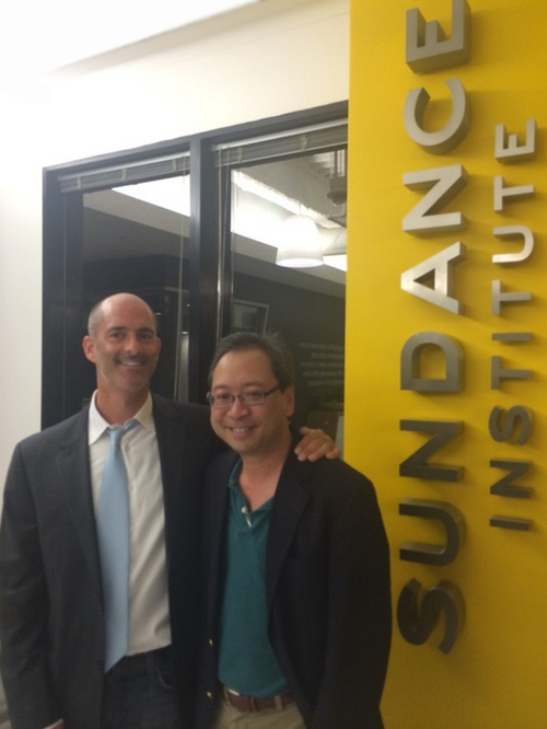 Mitchell at the Sundance Institute with CHINESE DELIVERY MAN screenwriter, Isaac Ho.