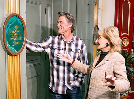Kurt Russell and Barbara Walters outside 'The Blue Bayou Restaurant' in Disneyland for ABC - Photo Credit: Disney