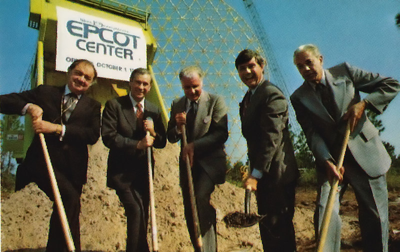 Card Walker and other dignitaries break ground during ceremonies kicking off Epcot Center's construction - Photo Credit: Disney