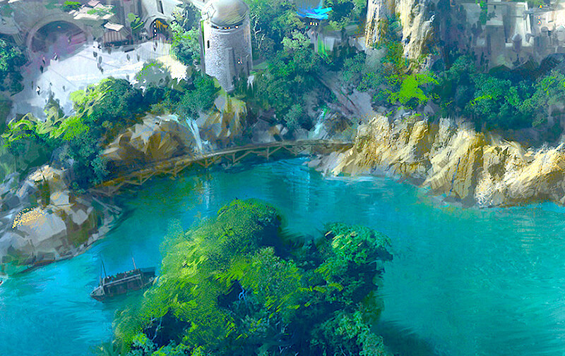 Within this new artwork for Star Wars Land at Disneyland, we can get a better idea of just where the new Star Wars Land will fit behind the new Rivers of America - Photo Credit: Disney