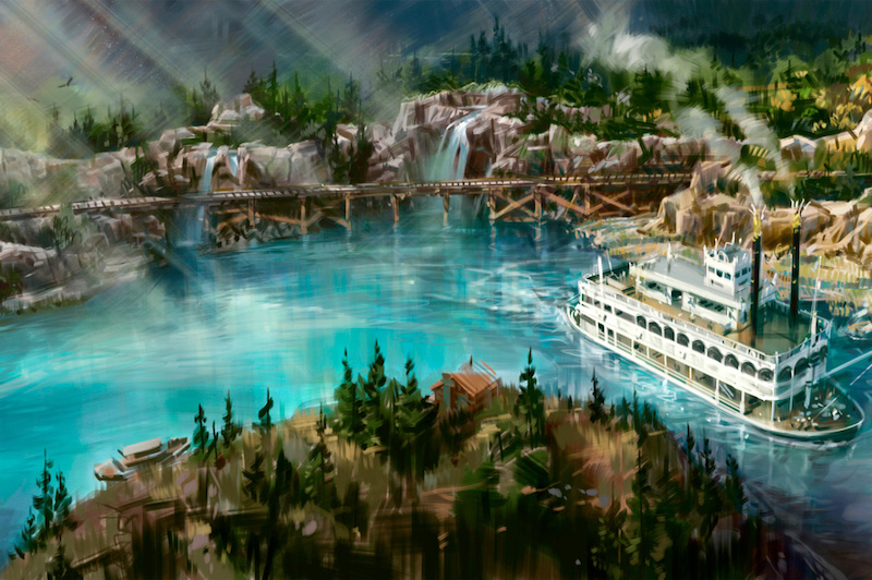 Artwork released by Walt Disney Imagineering of the New 'Rivers of America' layout, including Disneyland Railroad Track - Photo Credit: Disney