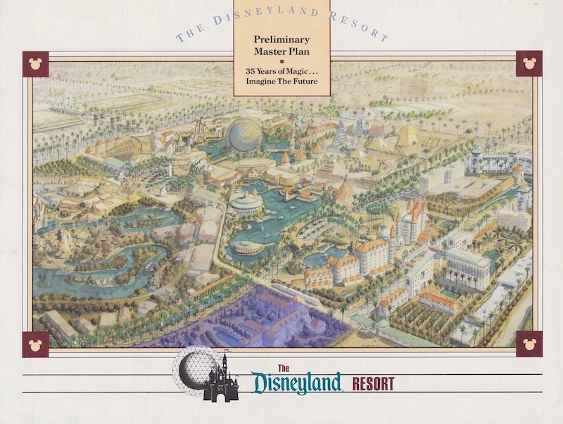 The location of what will be Disney's new luxury hotel is highlighted here on the cover of the 1991 brochure for the Disneyland Resort - Photo Credit: Disney