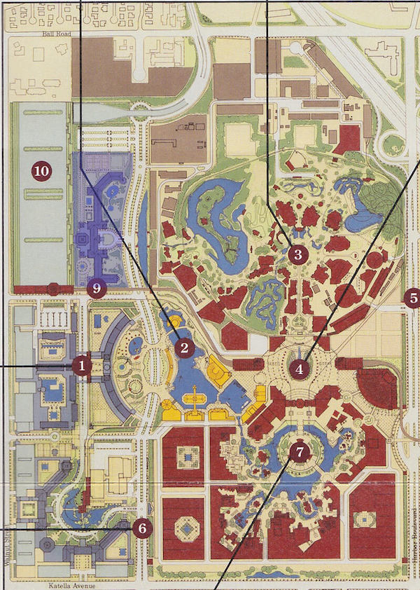 A map of the proposed Resort shows four hotels filling the western edge of the property. The northernmost hotel is highlighted in blue - Photo Credit: Disney