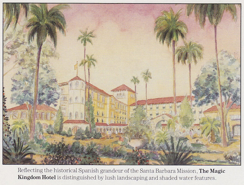 "The Magic Kingdom Hotel was described as ""reflecting the historical Spanish grandeur of the Santa Barbara Mission - Photo Credit: Disney"