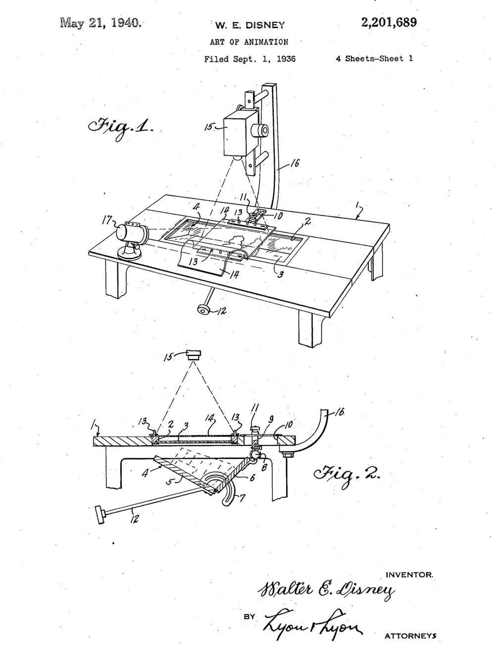 The Original Patent for the Multiplane Camera - Photo Credit: Disney