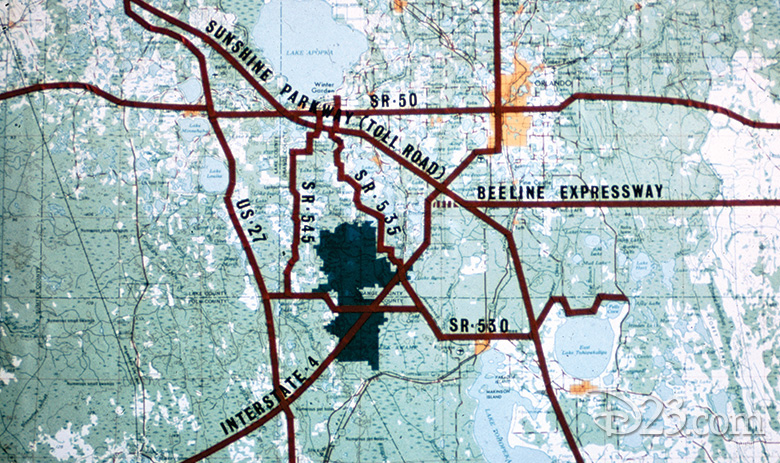 The land purchased by Walt Disney Productions in 1964 and 1965 (shaded in dark green) was located at the crossing point of Florida's major highways - Photo Credit: Disney