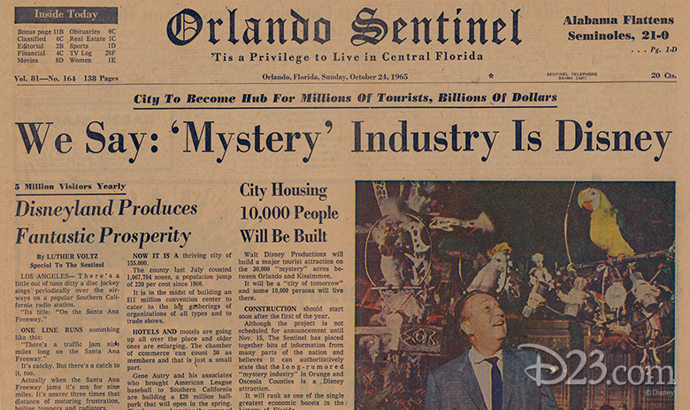 The headline of the Sunday, October 24, 1965, edition of the Orlando Sentinel suggests that Disney is behind the acquisition of nearly 30,000 acres of Central Florida land - Photo Credit: Disney