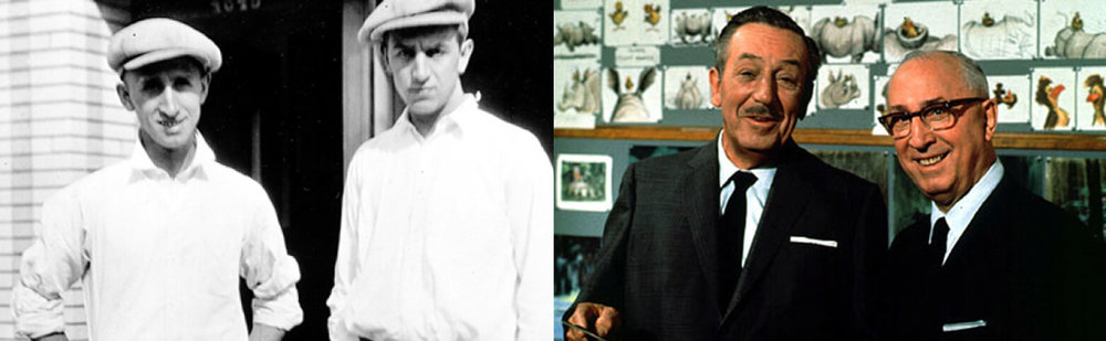 Roy & Walt Disney in 1923 (Left), Walt and Roy Disney in 1965 (Right) - Photo Credit: Disney