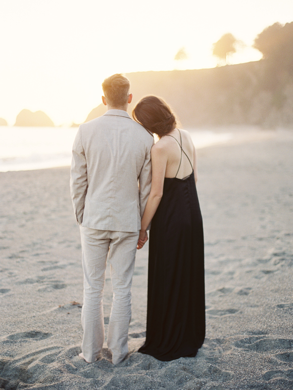Beach Sunset Engagement Session | Erich McVey Workshop in Elk, California :: Featuring Photographer Jenna McElroy :: Design & Styling by Ginny Au :: Hair & Makeup by Mimi and Taylor :: Floral Design by Sarah Winward :: Paper and Calligraphy by Meghan Kay Sadler :: Photo Lab: PhotoVision :: Film Sponsor: Fuji Film :: Table Linens & Rentals from 12th Table :: Venue: Cuffey's Cove Ranch :: Models: Jillian Lieber & Alex Michels of Stars Model Management