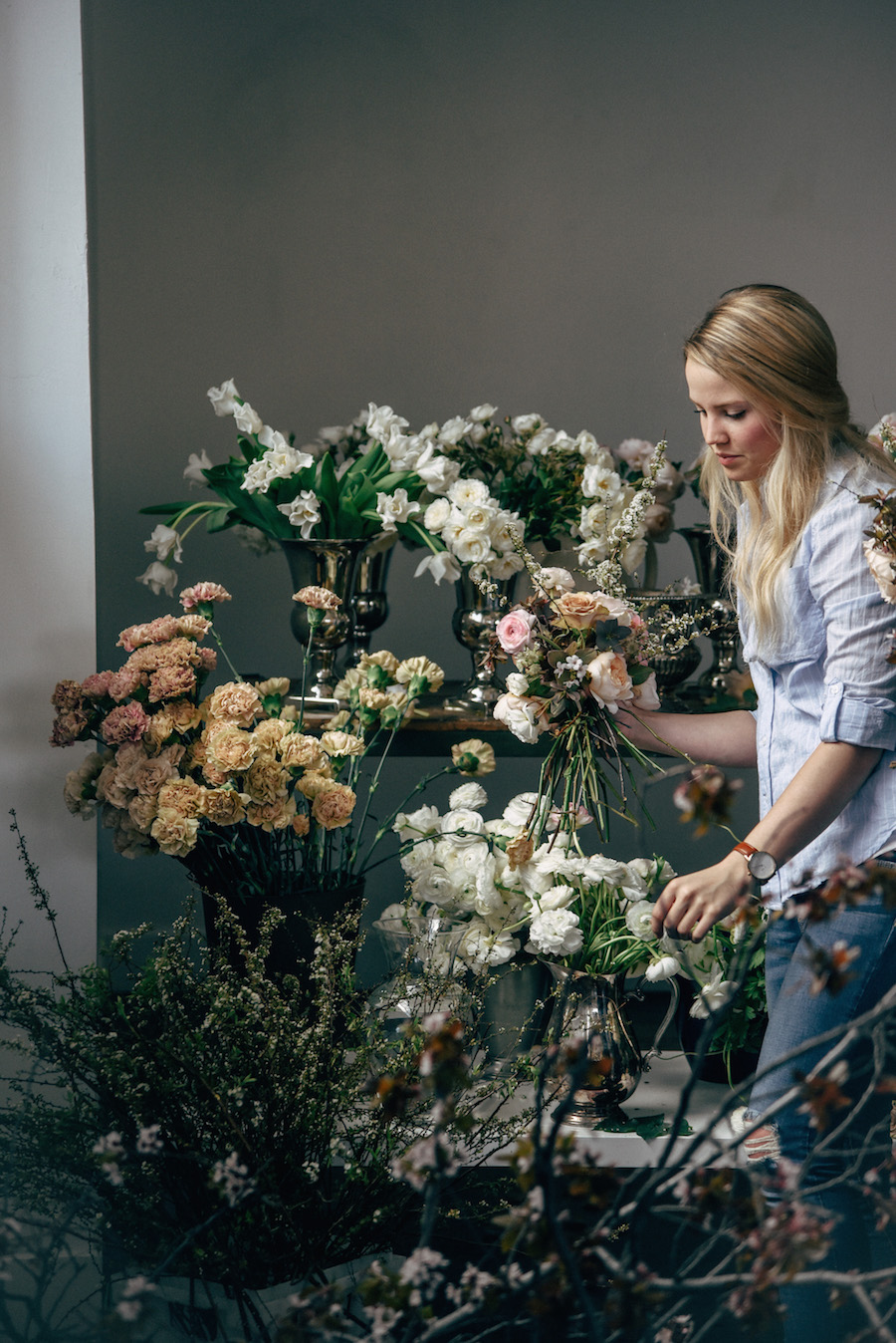 Nicole Land of Soil & Stem preparing for her Spring Floral Design Workshop for flower artists now featured on Cottage Hill