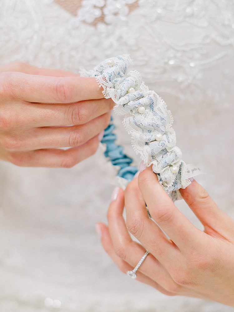 A Custom Garter Made with Mother of the Bride's Dress