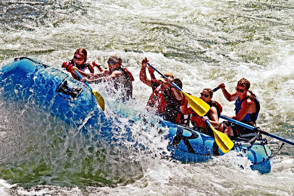 Rafting through a big wave on the full day Salmon River Whitewater Rafting Trip near Riggins Idaho.