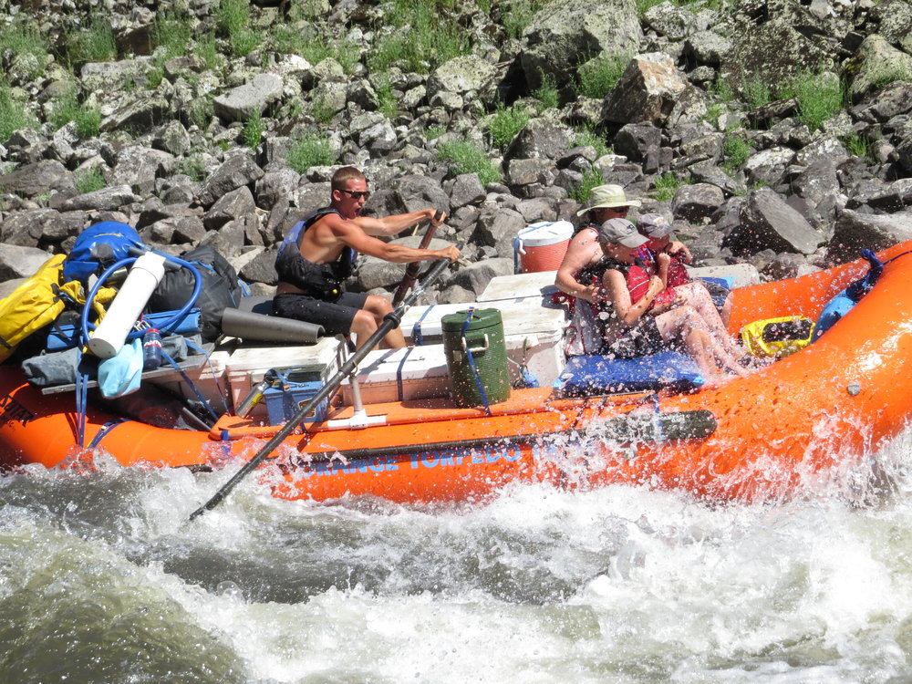 Kids having fun rafting the Salmon River