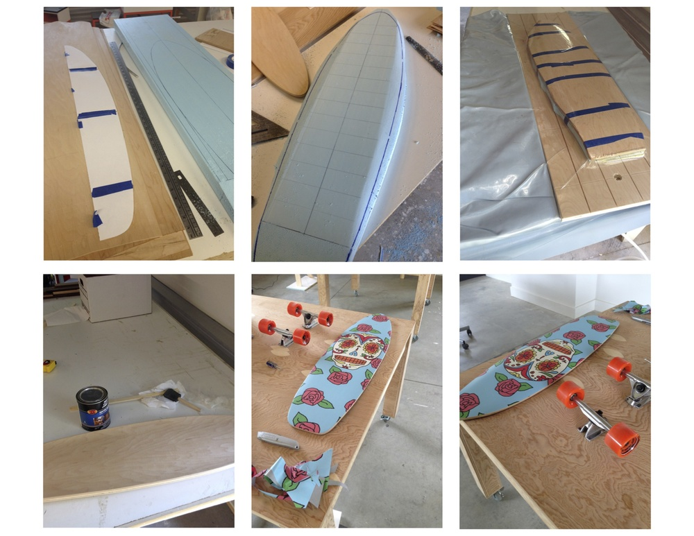 The process of making a longboard, from creating a pattern and mold, to vacuum forming the veneer, and finally applying the graphic!