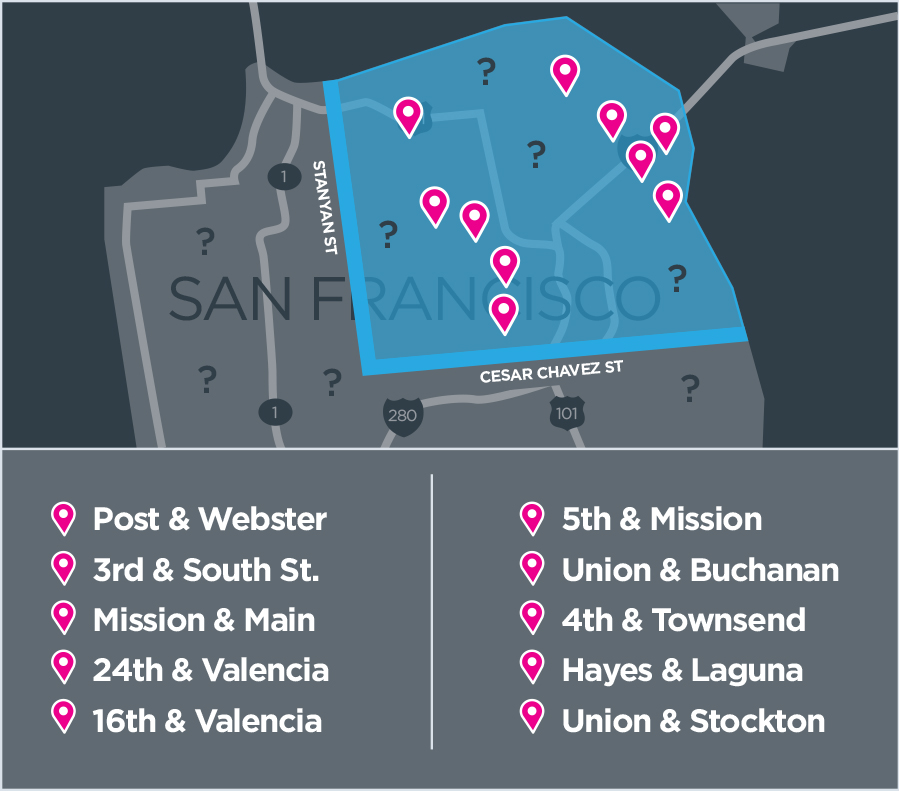 Lyft Line rides only. Rides must originate at a HotSpot intersection and end in the Drive Happy District to qualify for the $3 price. Drive Happy District boundaries are east of Stanyan St. and north of Cesar Chavez St. DHD and HotSpot boundaries and prices are for a limited time only and subject to change, so get out there while it lasts!