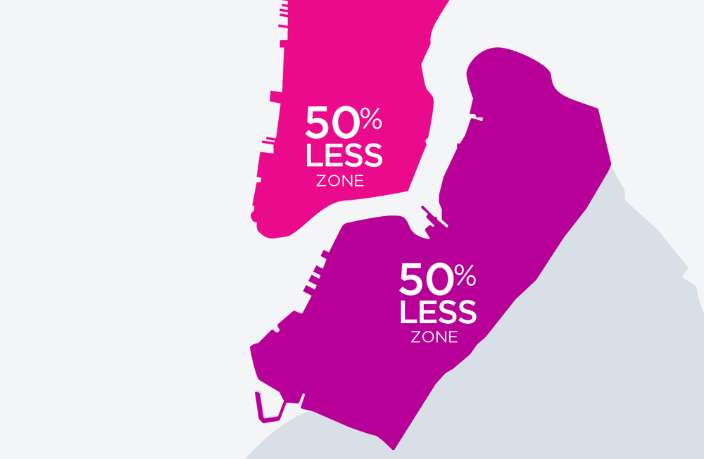 NEW YORK   For discount, Line must start and end south of 97th Street in Manhattan. Or, start and end within the Brooklyn zone shown on the map.