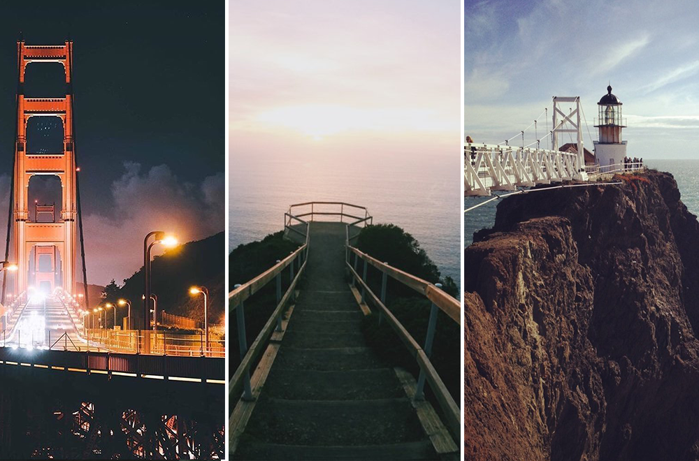 Left to right: Vista Point, Marin Beach Overlook, Point Bonita Lighthouse; Photo Credit: Mychael H, Arni D, Cindy T