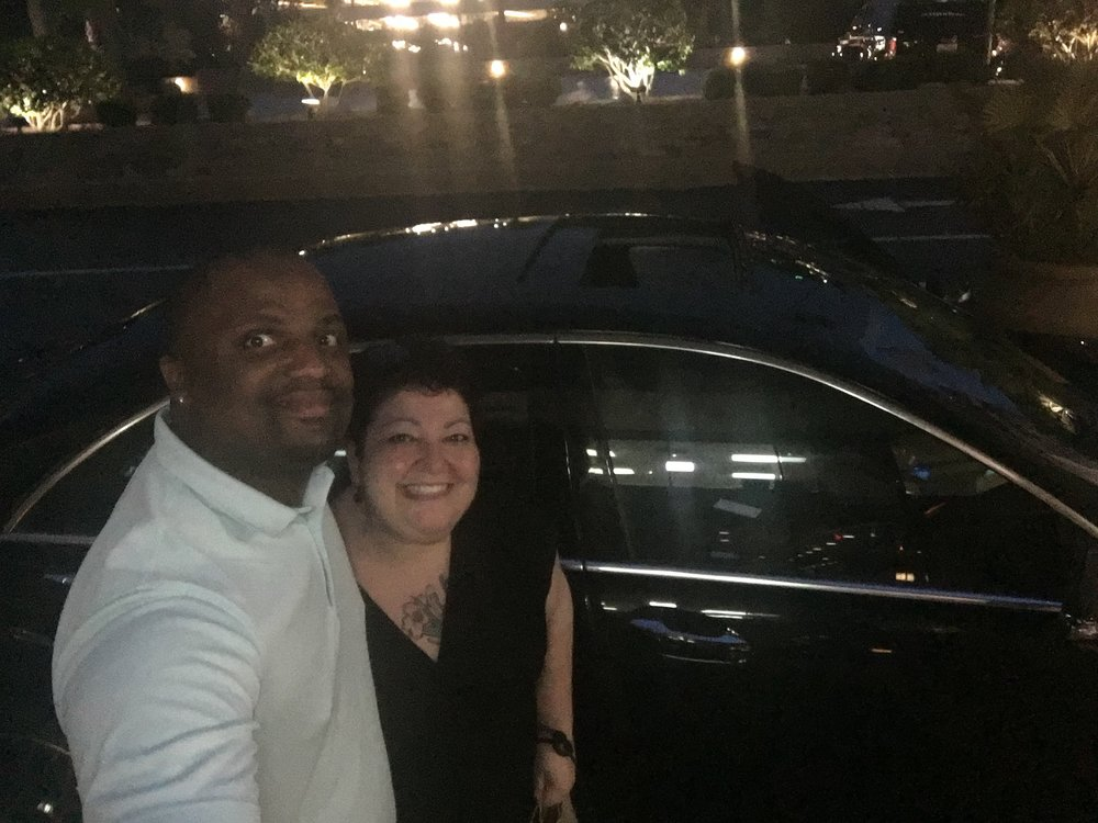 Equality Federation's Roey Thorpe (right) with her Lyft driver, Monquiz
