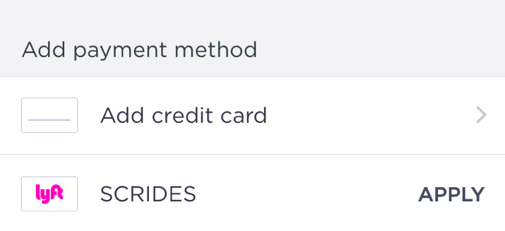 Download the Lyft app and enter the code SCRIDES in the 'Payment' section