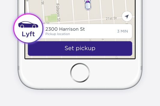As usual, select Lyft and set your pickup location.
