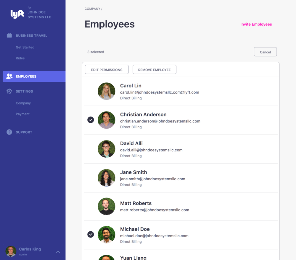 Manage employees and permissions.