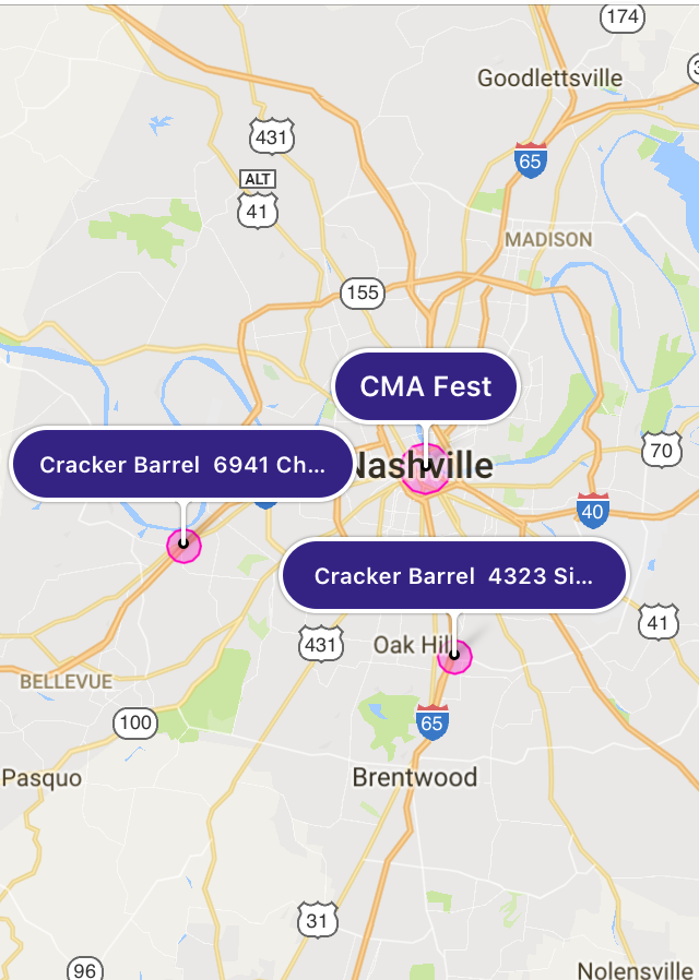 3. Set your pickup pin within the CMA Fest footprint (check the CMA Fest app for official pickup and drop-off locations!) then enter one of the two participating Cracker Barrel locations: 4233 Sidco Dr. or 6941 Charlotte Pike.