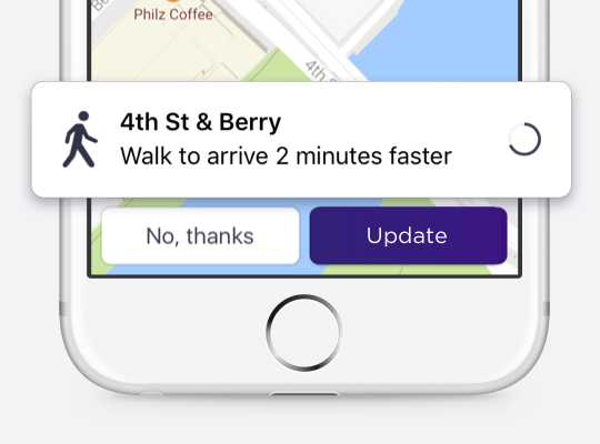 Tap 'Update' to meet your driver at the suggested pickup spot or 'No, thanks' to stay where you are