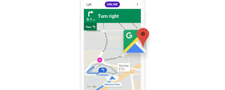 Announcing Lyft Navigation, Built with Google Maps — Lyft Blog on google docs app, google facebook app, google earth app, google voice app, google voicemail app, google navigation app icon, google places app, apple maps app, google maps app windows 8,