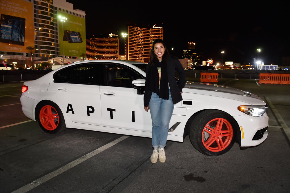 DJ & HBFIT Founder Hannah Bronfman attends the Lyft and Aptiv self-driving car experience during CES 2018