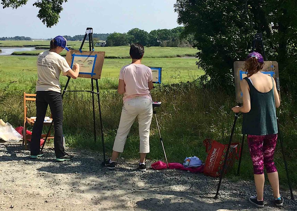 Students learning soft pastel painting from Michèle J. Kenna in Essex, MA.