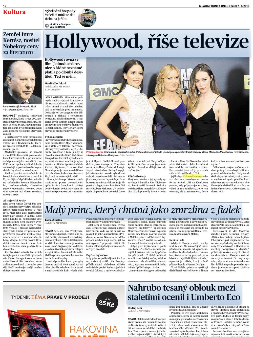Dnes Czech Republic | Hollywood, Rise Televize | Actual Page