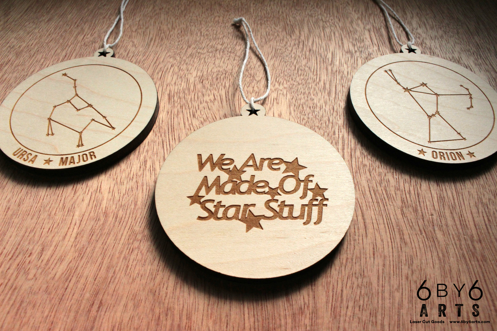 Constellation wood ornaments - 6 by 6 Arts