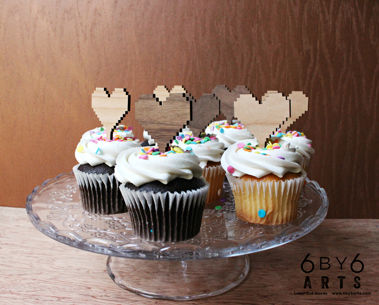 8 bit Cupcake Topper 6 Piece Set (Reusable) 6 By 6 Arts