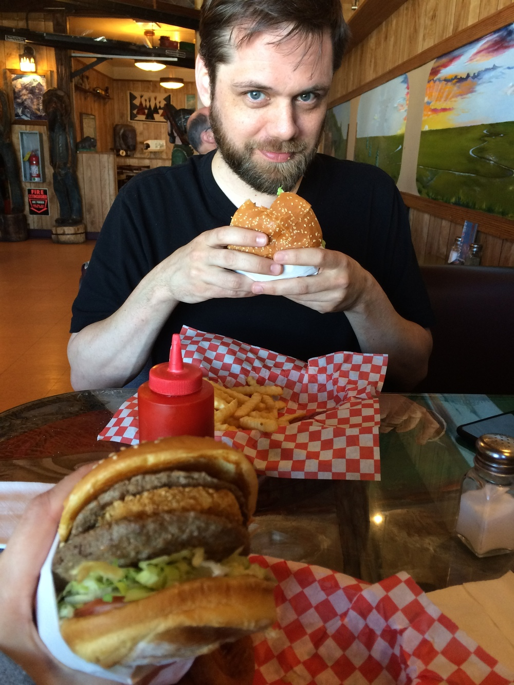 My beloved and I stopped at my favorite burger joint up north during a quick supply run. That IS in fact a hash brown in my burger. That way I don't need a side of fries.