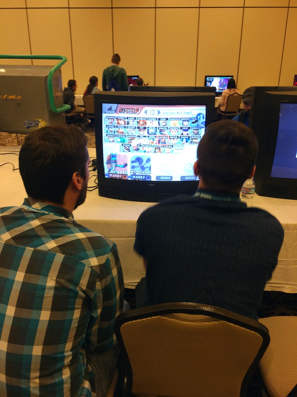 John & our boy Trevor playing Smash Bros. old school style.