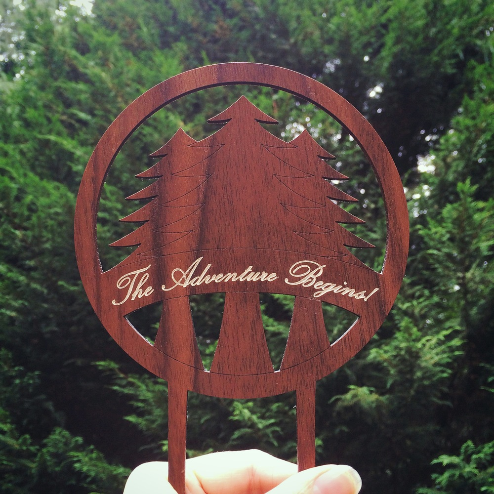 Walnut Wood Laser Cut Cake Topper | 6 by 6 Arts