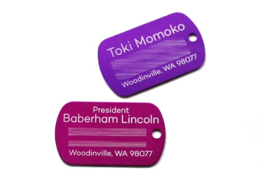 Custom engraved pet ID tags.