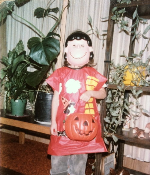 Early 1980's me in my Lucy halloween costume in my indoor jungle.
