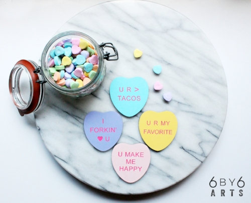 Custom Wood Conversation Hearts