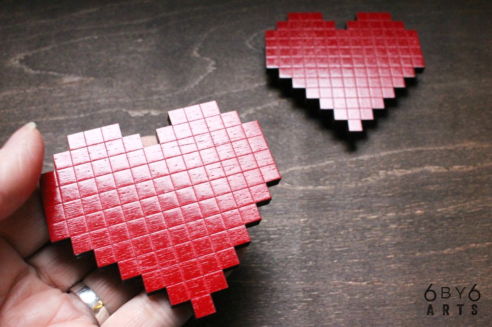 Painted Wood - 8 bit Hearts