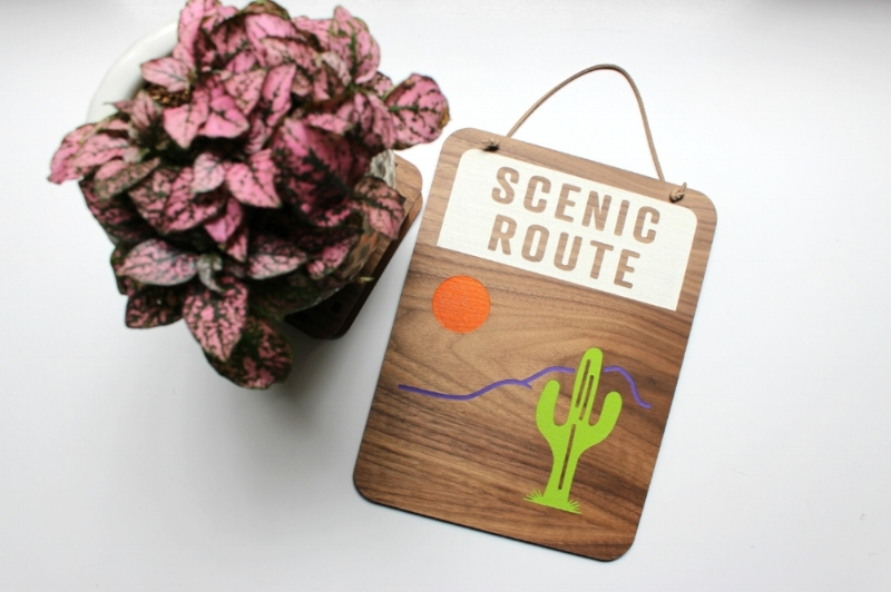 Scenic Route Wall Art Sign | 6 by 6 Arts