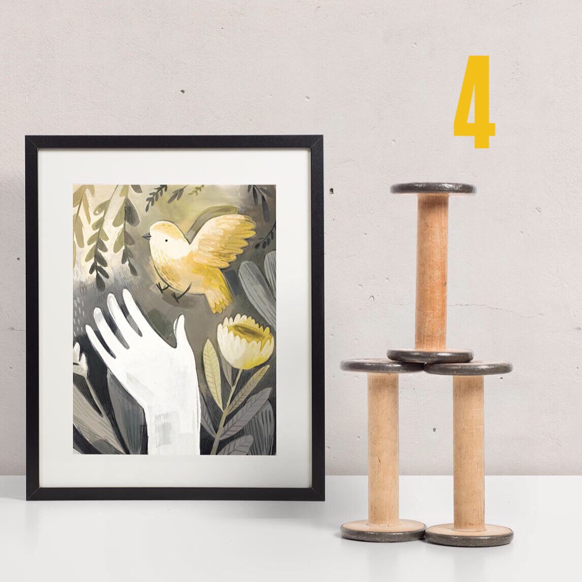set of 3 art prints finches and florals kass reich illustration