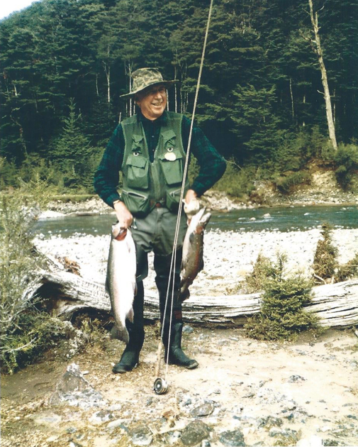 Sir David on the upper Rangitikei River, New Zealand, 1982