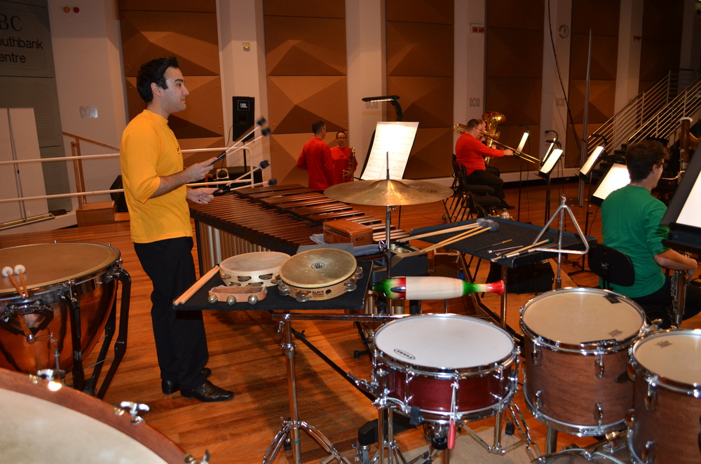 Brent Miller, MSO Guest musician, withpercussion setup