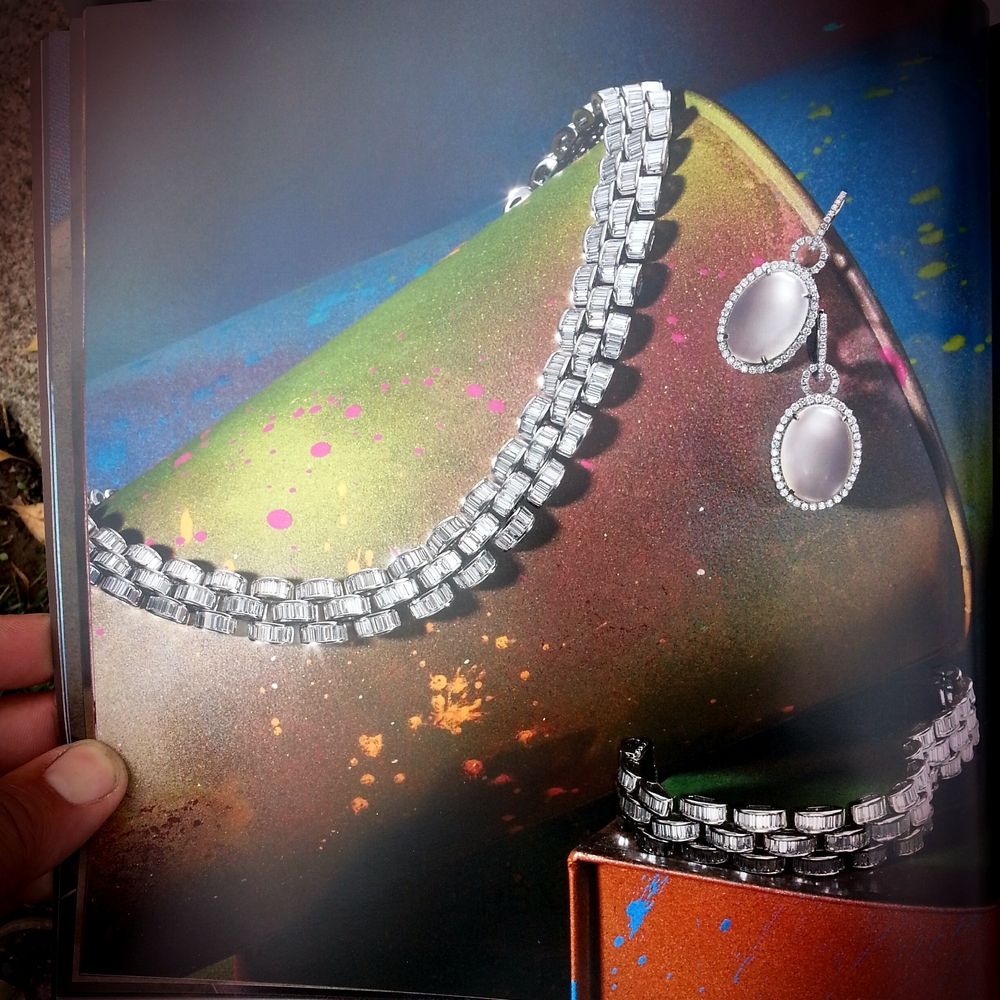 Baguette Diamond Necklace and Bracelet Set - 46.21 ctw. Abstract graffiti art on display objects by Scape.