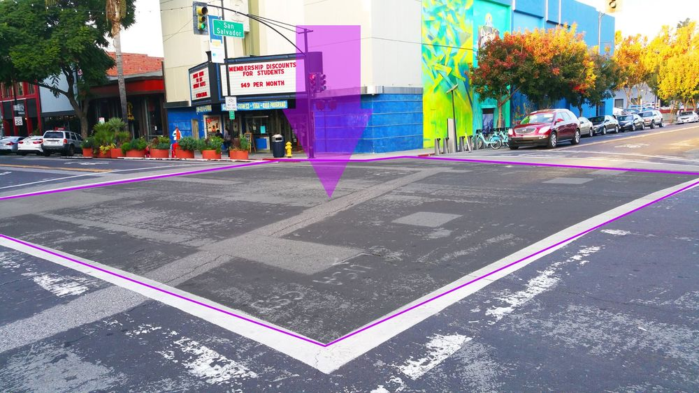 One of the corners, 1st street and East San Salvador, where one of the streetprints will go.