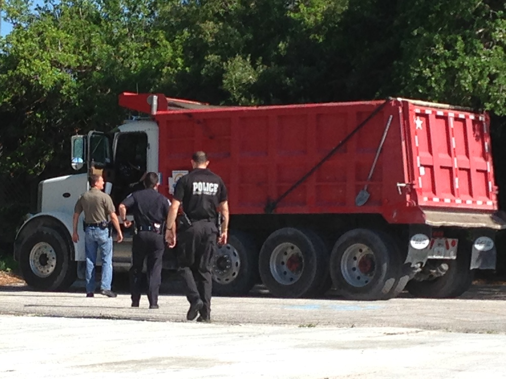 This is a dump truck that was seized under city ordinance during an undercover operation targeting prostitution on the North Trail in Sarasota