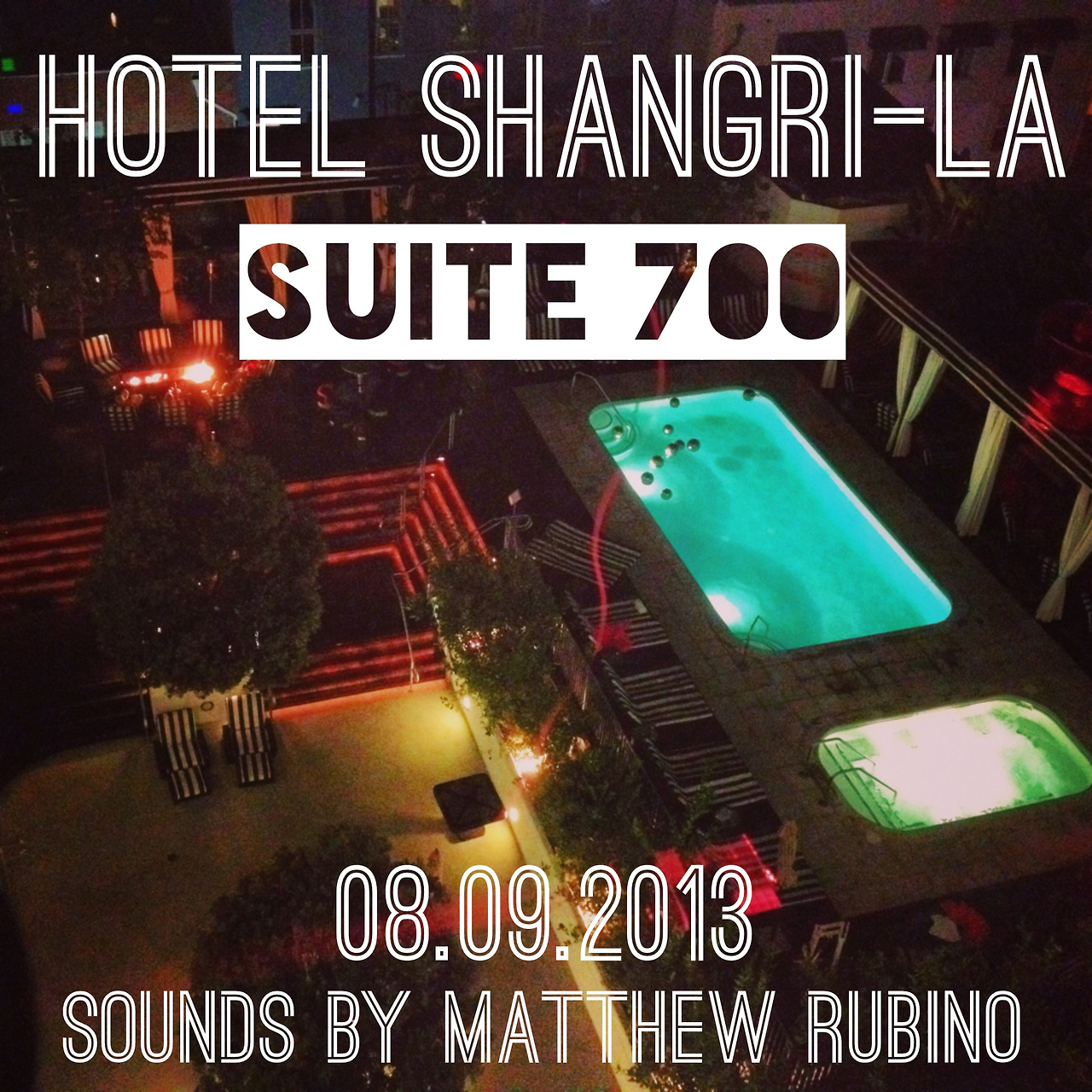 Excited to have Matthew Rubino invited back to provide an eclectic mix of music for his 2nd Friday night at SUITE 700, the penthouse lounge at the art deco inspired Hotel Shangri-la.    1301 Ocean Ave  Santa Monica, CA 90401
